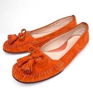 Cole Haan suede tassel orange loafers size 10 B